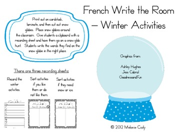 French Winter Activities Vocabulary -- Write the Room, Memory, Flyswatter Game
