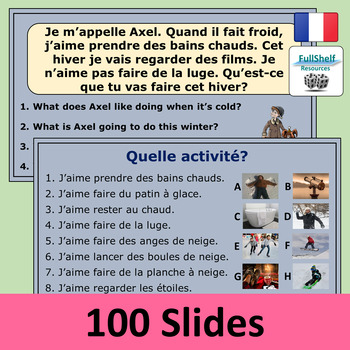 L'hiver French Winter Activities Vocabulary