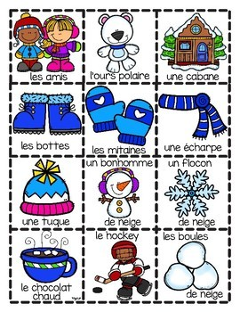 French Winter BINGO Cards