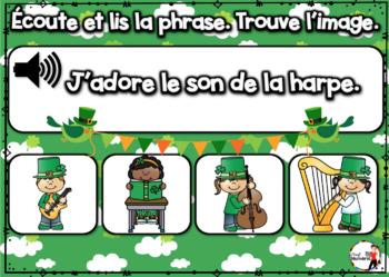 French Winter BOOM Cards - Écoute et lis la phrase. (ST-PATRICK : Jeu 2)