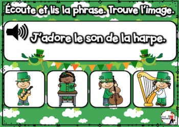 Saint-Patrick French BOOM cards - Écoute et lis la phrase. (ST-PATRICK : Jeu 2)