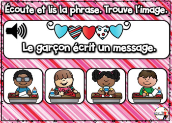 French Winter BOOM Cards - Écoute et lis la phrase. (ST-VALENTIN : Jeu 2)
