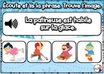 French Winter BOOM Cards - Écoute et lis la phrase. (Thème HIVER : Jeu 2)