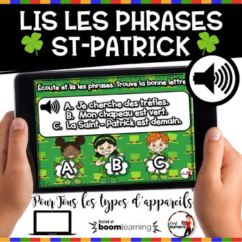 French Winter BOOM Cards - Écoute et lis les phrases. (ST-PATRICK : Jeu 3)