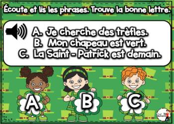 Saint-Patrick French BOOM cards-Écoute et lis les phrases. (ST-PATRICK : Jeu 3)