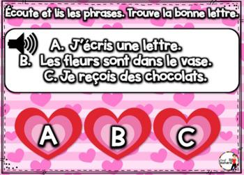 French Winter BOOM Cards - Écoute et lis les phrases. (ST-VALENTIN : Jeu 3)