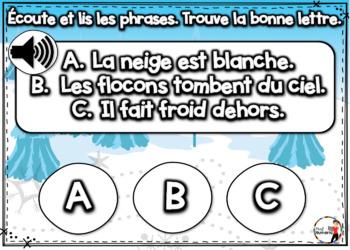 French Winter BOOM Cards - Écoute et lis les phrases. (Thème HIVER : Jeu 3)