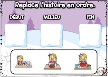 French Winter BOOM Cards - Replace l'histoire en ordre. (Thème HIVER : Jeu 4)