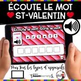 French Winter BOOM Cards - Écoute le mot. Écris le mot. (ST-VALENTIN : Jeu 1)