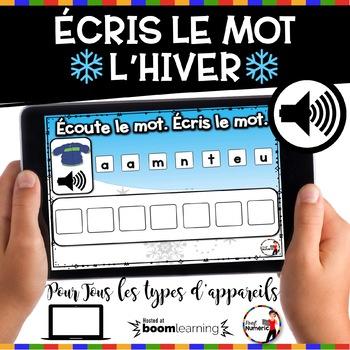 French Winter BOOM Cards - Écoute le mot. Écris le mot. (Thème HIVER : Jeu 1)