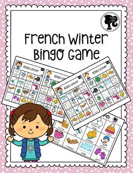 French Winter Bingo Game - Bingo d'Hiver - Colour