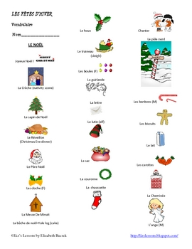 French Winter Bundle: December-March Holiday Vocabulary and Activities