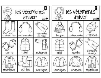 French Winter Clothing Bingo Game - Bingo des Vêtements d'Hiver - Black & White