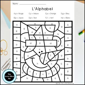 French Winter Color by Letter   Coloriages Magiques Hiver l'Alphabet