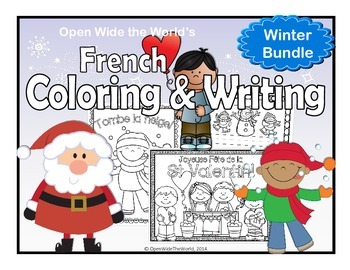 French Winter Coloring & Writing Bundle