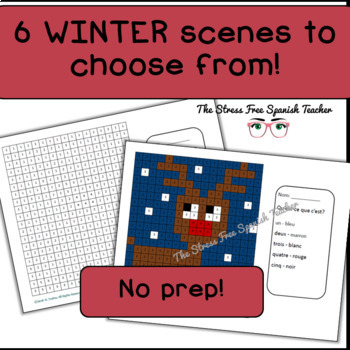 French Color By Number Mystery Pictures!  Winter / Grid