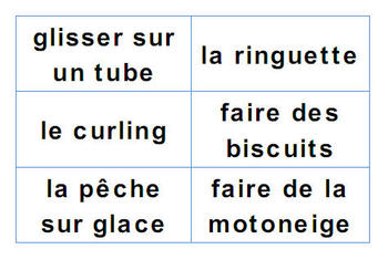 French Winter Sports Activity Bingo and Vocab Cards Package