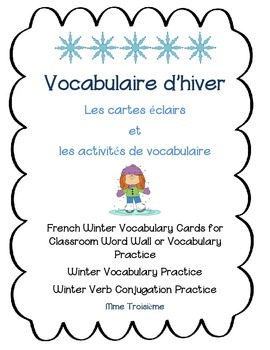 French Winter Vocabulary Flashcards and Activities