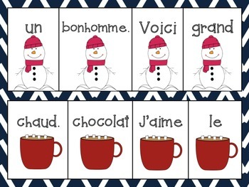 French Winter Vocabulary- Scrambled Sentences with matching visuals