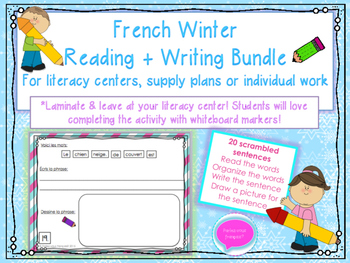 French Winter Writing Bundle- Scrambled Sentences