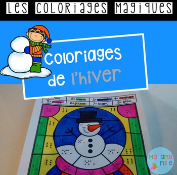 French Winter color by code / Coloriages magiques {Hiver}