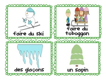 French Winter Vocabulary Cards and Game (l'hiver)