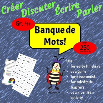 French: Word Bank: Substitute Teacher Activity: Centre Activity