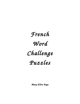 French Word Challenge Puzzles