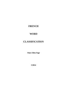 French Word Classifications (5)