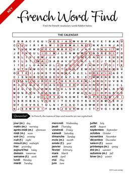 French Word Find - The Calendar