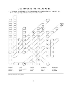 French Word Fit Puzzles