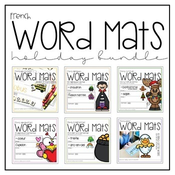 French Word Mats Holiday Bundle