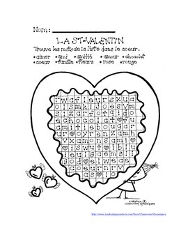 French Word Puzzles La St-Valentin