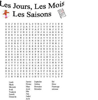 French Word Search-Days. Months, Seasons