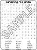 French Word Search and Cross Word - Gardening / Le jardin