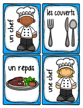 French Word Wall Card Collection - AU RESTAURANT