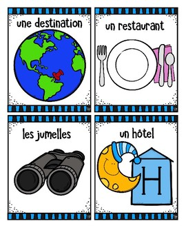 French Word Wall Cards - EN VACANCES