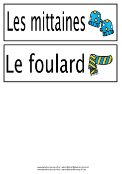 French Word Wall words - Les vêtements
