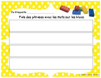 French Word Work – DOTS Theme - Sentence builders