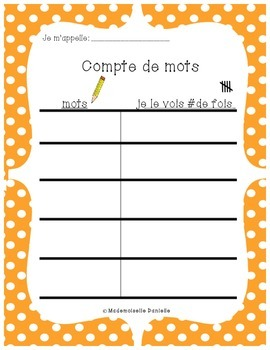 French Word Work – DOTS Theme – Word Tally
