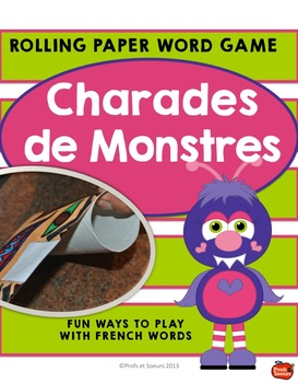 French Word Work Game / Monster Rolling Paper Charades