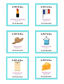 """French """"Word of the Day"""" Flashcards"""