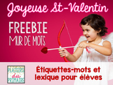 French - Word wall - Valentine's Day FREEBIE!
