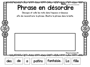 French - Word wall pack - janvier - hiver