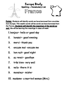 French Words for Kids List and Test