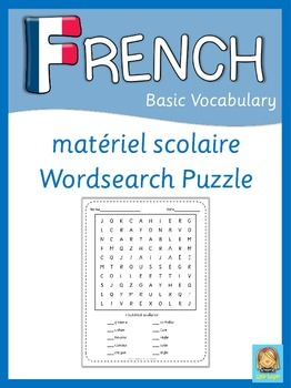 French Word Search Puzzle  matériel scolaire