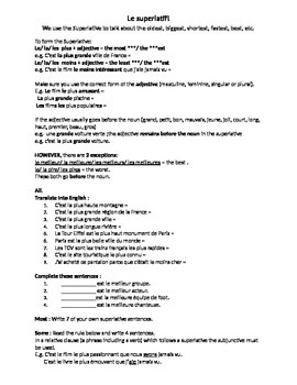 French Teaching Resources Worksheet: The Superlative!