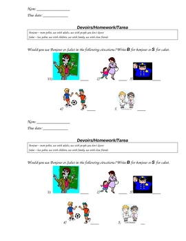 French Worksheet to Practice the Difference Between Bonjour and Salut