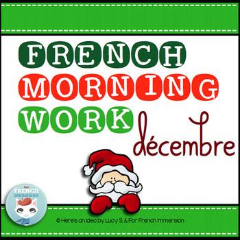French Christmas Worksheets DECEMBER Language Morning Work | Noël français