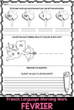 French Worksheets FEBRUARY Language Morning Work